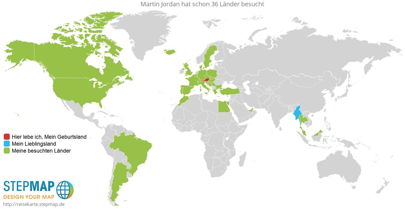 Reisekarte von Martin Jordan