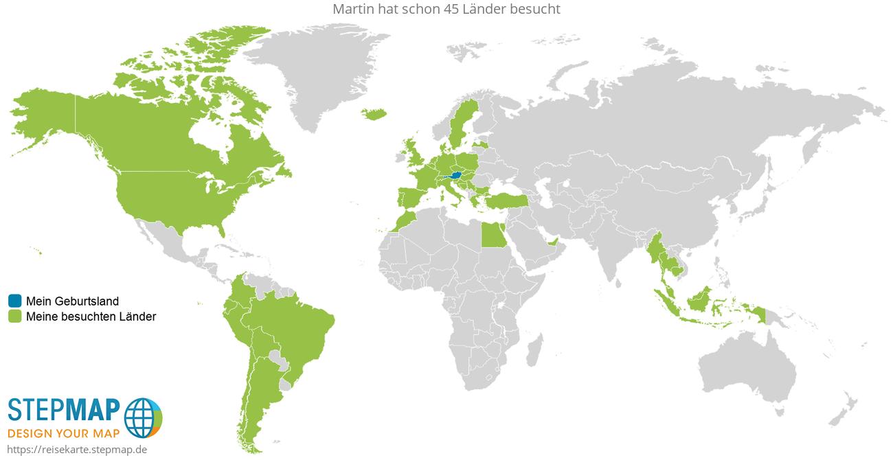 Reisekarte von Martin